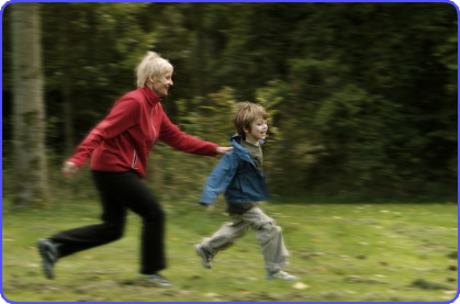 Elderly woman having fun with her Grandson